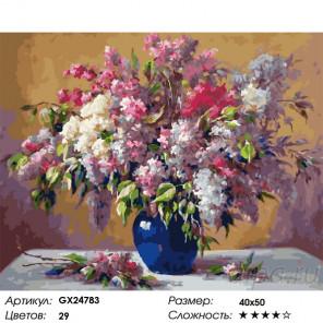 Сложность и количество красок Сирень в синей вазе Раскраска картина по номерам на холсте GX24783