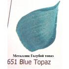 651 Голубой топаз Металлик Акриловая краска FolkArt Plaid