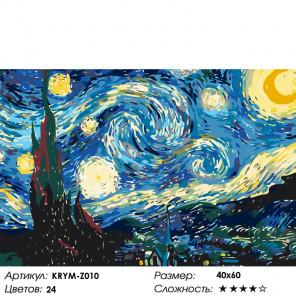 Количество цветов и сложность Звездная ночь Раскраска по номерам на холсте Живопись по номерам KRYM-Z010