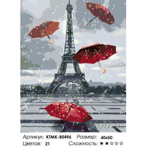 Количество цветов и сложность Зонты в Париже Раскраска по номерам на холсте Живопись по номерам KTMK-85496