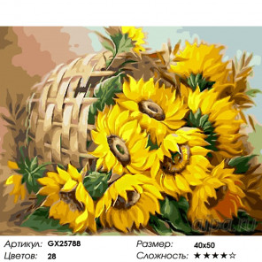 Количество цветов и сложность Цветы солнца Раскраска по номерам на холсте GX25788