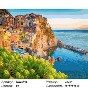 Количество цветов и сложность Цветные домики у моря Раскраска картина по номерам на холсте GX26443